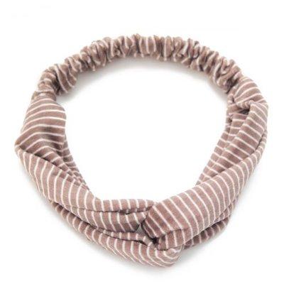 Haarband velvet twist streep bruin
