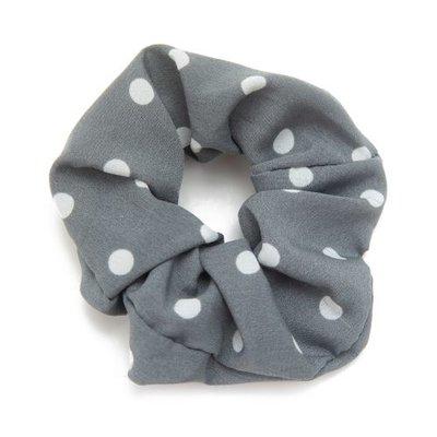 Scrunchie haarelastiek dot grijs