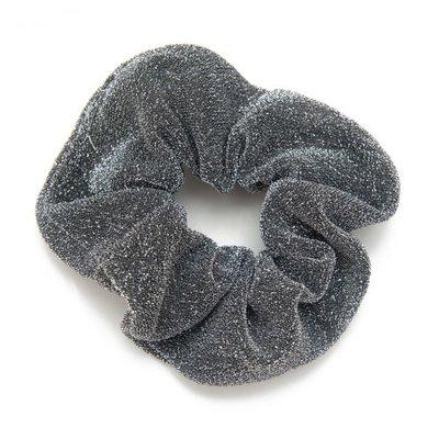 Scrunchie haarelastiek glitter grijs