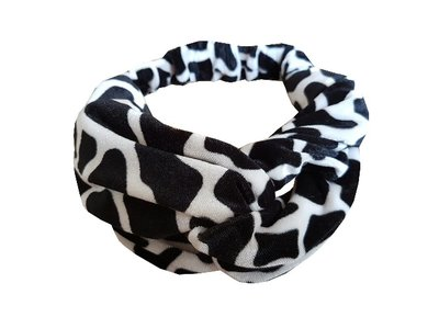 Haarband velvet twist print zwart wit