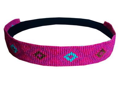 Haarband kraaltjes roze