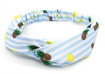 Haarband twist ananas wit blauw