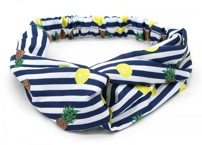 Haarband Twist Ananas Streep Wit Donkerblauw