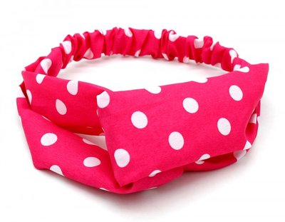 Haarband Twist Stippen Roze Wit