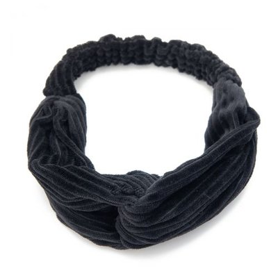 Haarband velvet twist rib zwart