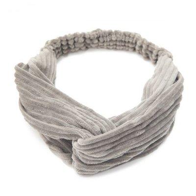 Haarband velvet twist rib grijs