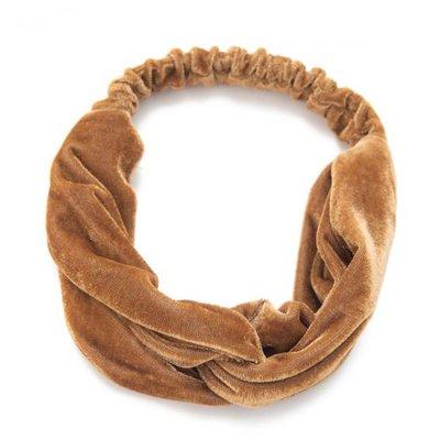 Haarband velvet twist glans bruin