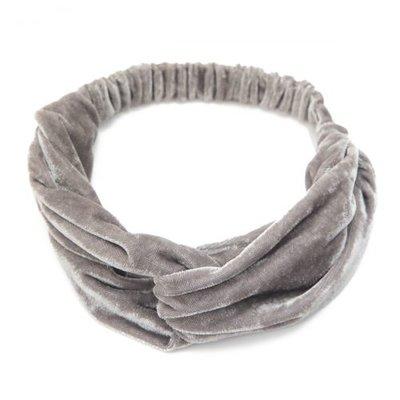 Haarband velvet twist glans grijs