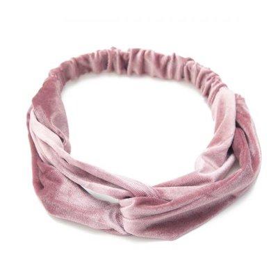 Haarband velvet twist glans roze