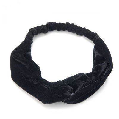 Haarband velvet twist glans zwart