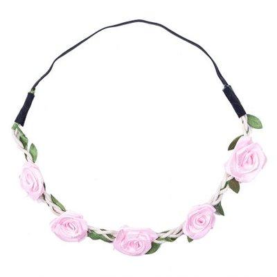 Haarband  roos satijn roze