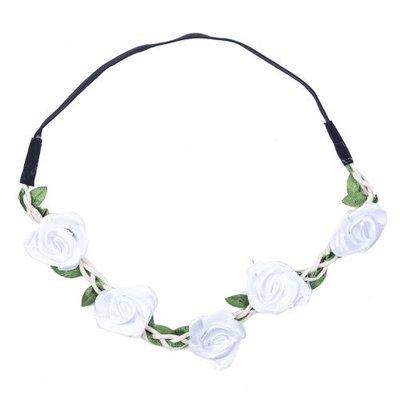 Haarband  roos satijn wit