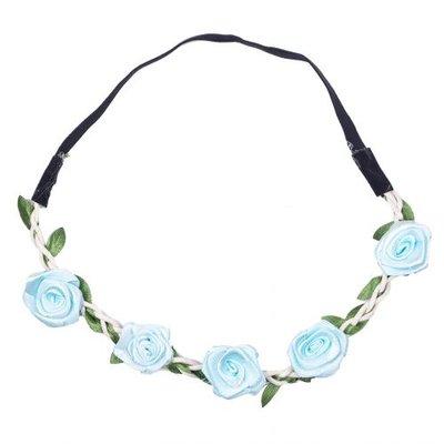 Haarband  roos satijn blauw