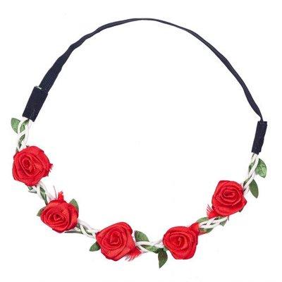 Haarband  roos satijn rood
