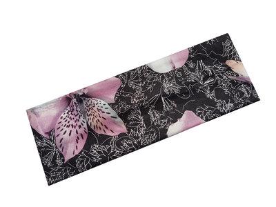 Haarband orchidee bloem zwart paars