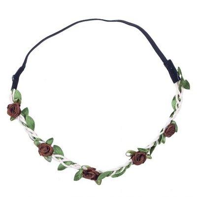 Haarband roosjes satijn bruin