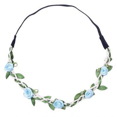 Haarband roosjes satijn blauw