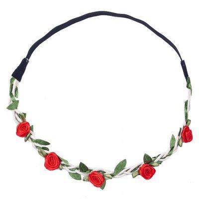 Haarband roosjes satijn rood