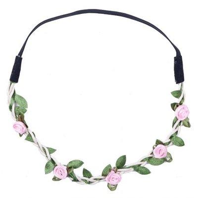 Haarband roosjes satijn roze