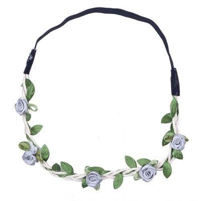 Haarband roosjes satijn grijs