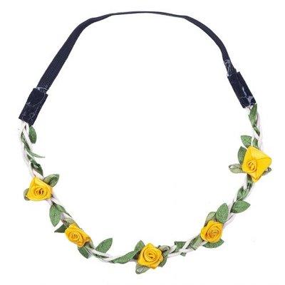 Haarband roosjes satijn geel
