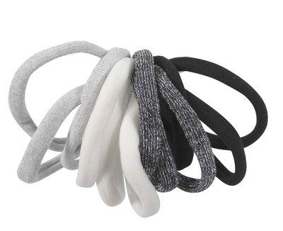 Haarelastieken endless zwart wit grijs