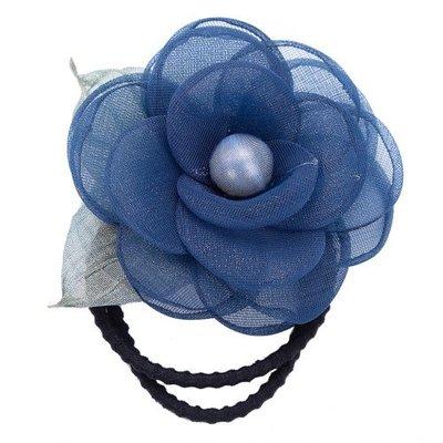 Haarelastiek bloem parel blauw