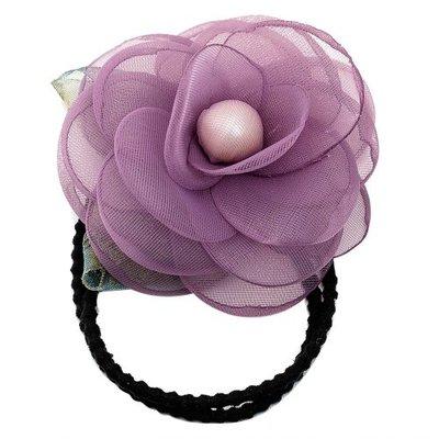 Haarelastiek bloem parel paars
