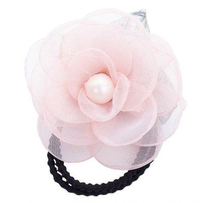 Haarelastiek bloem parel roze
