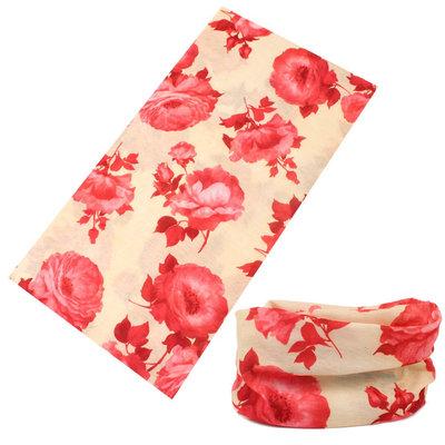 Haarband multifunctioneel rozen creme rood