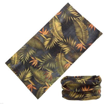 Haarband multifunctioneel leaves groen grijs