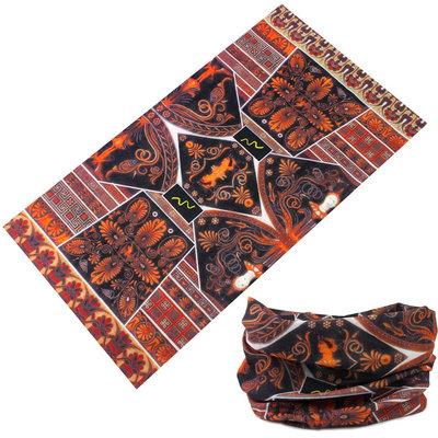 Haarband multifunctioneel print zwart oranje bruin