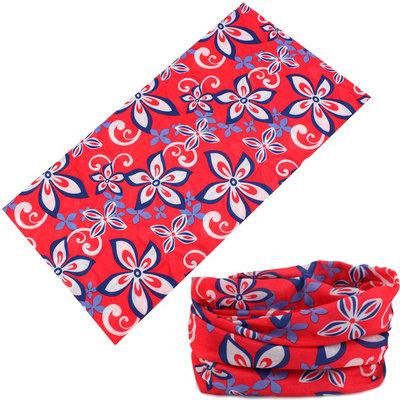 Haarband multifunctioneel bloem wit blauw rood