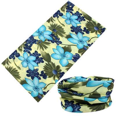 Haarband multifunctioneel bloem blauw groen