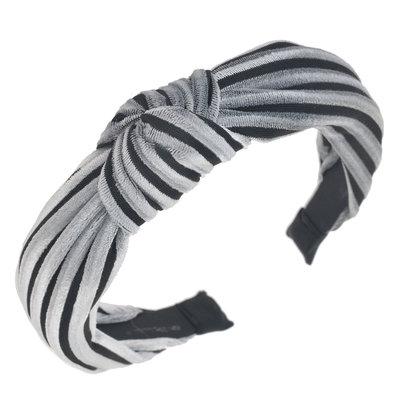 Diadeem knoop velvet grijs zwart