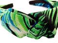 Haarband Diadeem Knoop Leaves Print Groen Blauw